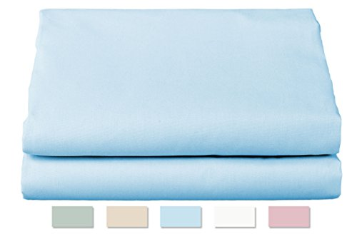 50 Weight Sheet - Thomaston Mills: Percale Sheet Set, Wrinkle Resistant, American Made, Durable, Crisp Fabric. (King, Light Blue)
