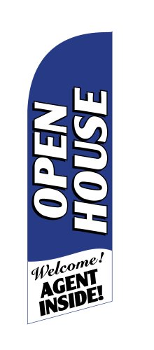 - Open House Agent Inside (Blue) Windless Stay-Open Feather Swooper Flag Banner Kit: 8' Pole Set, Metal Ground Spike
