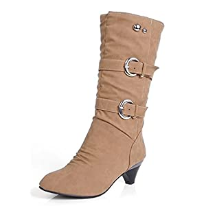 7865bd78af07 Aisun Women s Stylish Cool Round Toe Buckle Strap Dress Chunky Medium Heel  Mid Calf Boots Shoes