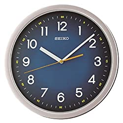 SEIKO Ultra-Modern Wall Clock with Quiet Sweep, Silver