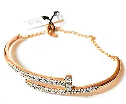 Adjustable Fashion Crystal Bracelet 12K Rose Gold CC High Sparkle Cuff Bangle with Silk Pouch (1 pc)