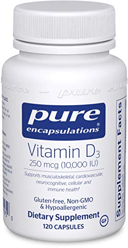 Pure Encapsulations - Vitamin D3 250 mcg (10,000 IU) - Hypoallergenic Support for Bone, Breast, Prostate, Cardiovascular, Colon and Immune Health* - 120 Capsules
