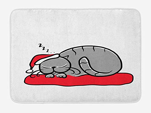 Christmas Bath Mat, Cat with Santa Claus Hat Whiskers on The Pillow Winter Night Cartoon Artwork, Plush Bathroom Decor Mat with Non Slip Backing, 23.6 W X 15.7 W Inches, White Red Grey