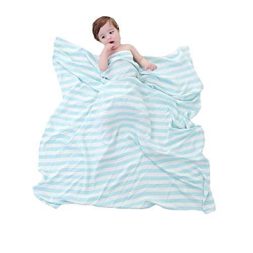 Babyhood Organic Bamboo Muslin Breathable Blankets Ultra Soft Baby Infant Receiving Blankets Blue Stripes by Babyhood