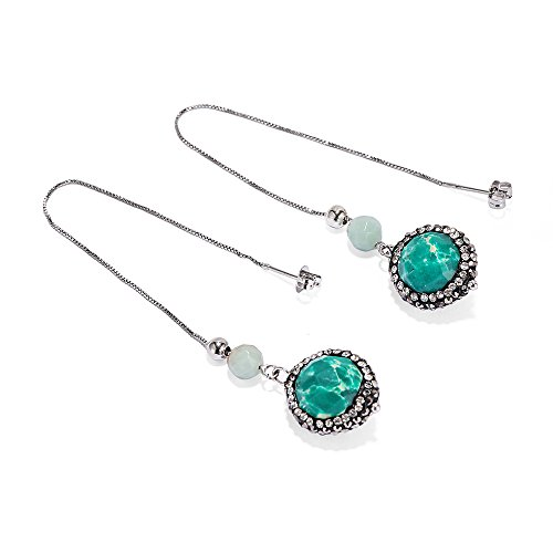 CZ Paved Round Sea Sediment Jasper Stone Dangle Earrings White Gold Plated Drop Earrings for Women