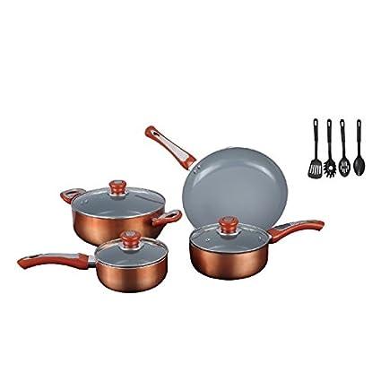 7 Piece Copper Tone Cookware Set With Bonus Utensils Aluminum Ceramic Material Eco