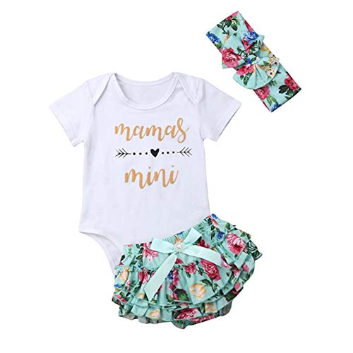 Mamas Mini Baby Girl Outfit Clothes Summer Romper&Floral Ruffle Bloomer Shorts+Headband Infant Clothing Set (Green, 6-12 Months)