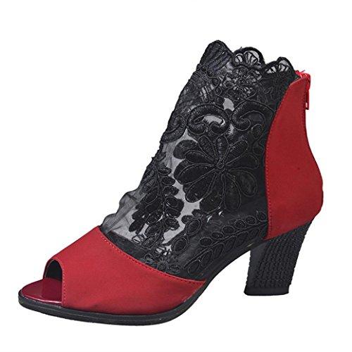 Spitze Stiefeletten Heels Toe Sandalen Party Damen Absatz Schuhe Peep High LHWY Hoch Frauen Reißverschluss Schwarz Rot Sommer Abendschuhe Mode Cocktail Rot w7vSOgwn