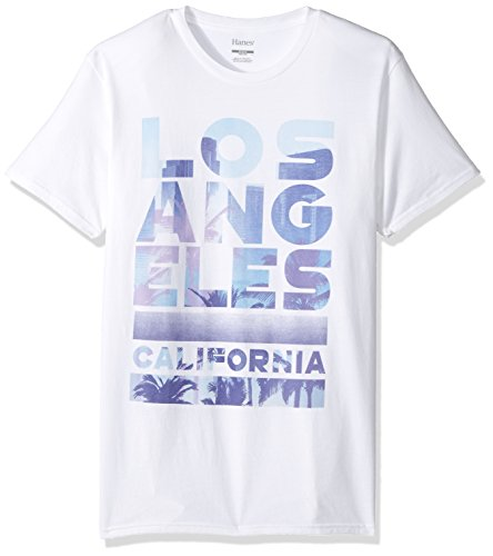Hanes Men's Graphic Vintage Cali Collection T-Shirt, White/Los Angeles, X Large