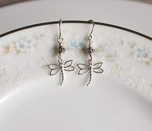 - Sterling Silver Dragonfly and Bali Bead Dangle Earrings