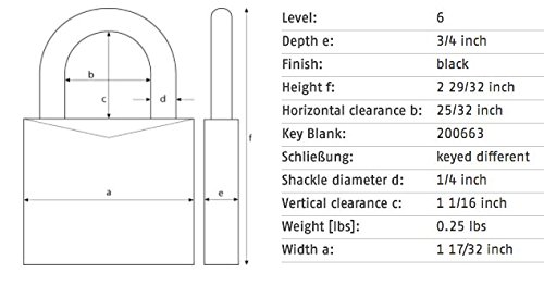 ABUS 72/40 KA Safety Lockout Aluminum Keyed Alike Padlock with 1-Inch shackle, Black by ABUS (Image #4)