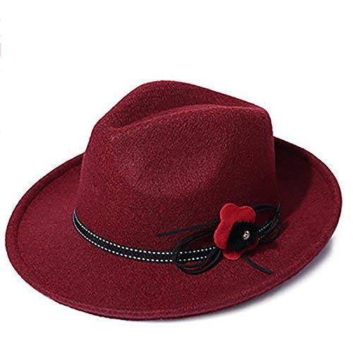 Gorros Gorro De Jazz para Mujer Sombrero De Fieltro Sombrero Fácil De Igualar  Holgado Sombrero Elegante De Otoño E Invierno con Gorros Rojos De Borde  Ancho ... a17f75756326