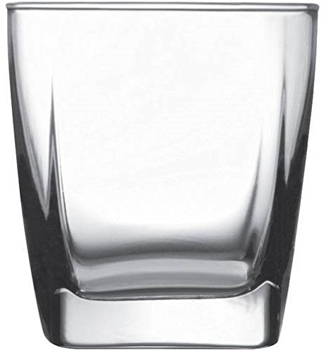 Circleware 10131 Ice Cube Heavy Base Whiskey Glass, Set of 4, Kitchen Entertainment Drinking Glassware for Water, Juice, Beer and Bar Liquor Dining Decor Beverage Cups Gifts, 10 oz, Square DOF