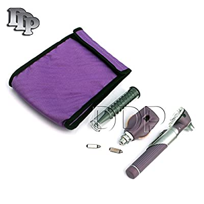 Ddp Fiber Optic Otoscope Set, With Pouch/ Complete Diagnostic Set-bright Led Light + 2 Free Replacement Bulbs Purple Color