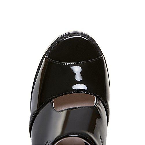 Zapato de de 5 US6 CN37 talón Damas sandalias zapatos verano 5 EU37 bloque Sexy mulas tacón Flops Womens 7 zapatillas UK4 espeso abierto Flip 5 IqYwn6