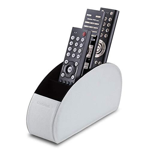 Sonorous Luxury Leather Remote Control Holder with 5 Compartments - Media Storage Box, Remote Control Organizer (WHITE)