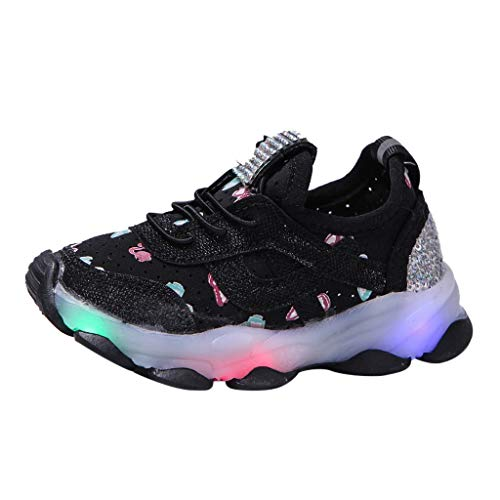 Boys Girls Sneakers,Londony Kids Breathable LED Light Up Flashing Sneakers for Children Shoes(Toddler/Little Kid/Kids)