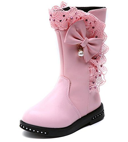 Moccasins Side Lace Boots (Bumud Girl's Waterproof Lace Bowknot Side Zipper Fur Winter Boots (Toddler/Little Kid) (9 M US Toddler, Pink))