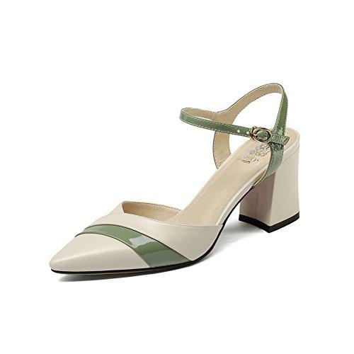Bloque Green la Mujer Toe amp;S Al Beige Sandalias MEI Señaló Tacones Tobillo XFfw1qHx