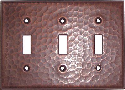 Triple Toggle Hammered Copper Switch Plate by Fine Crafts & Imports
