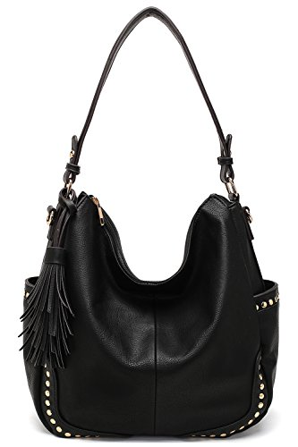 Style Strategy Olivia Hobo Bag, Extra Large Size, Carries Up to 25 Lbs (8454,Black)