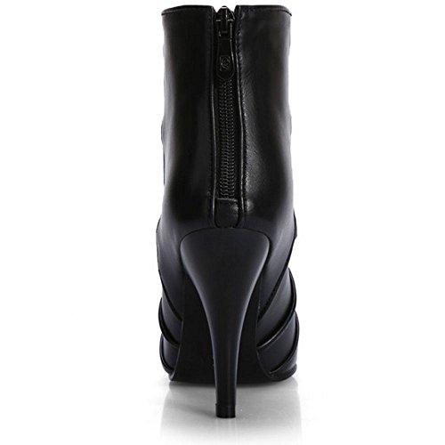 Stiletto con Botines Mujeres Tacones Sexy Vestido COOLCEPT de cremallera altos fiesta Negro ETqFwfax