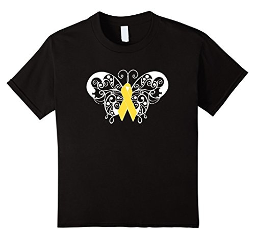 Kids Support The Troops Awareness T Shirt Yellow Ribbon Butterfly 6 (Troops Yellow T-shirt)