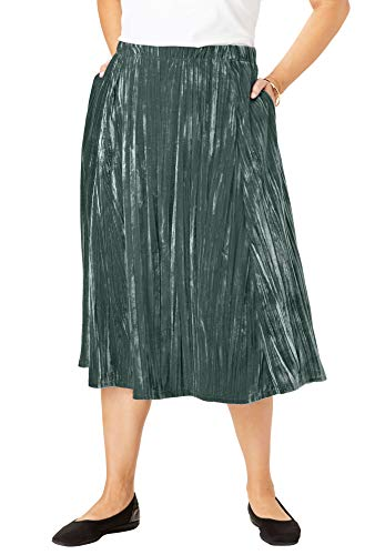 Woman Within Women's Plus Size Crinkled Velour Panne Skirt - Deep Emerald, 38/40