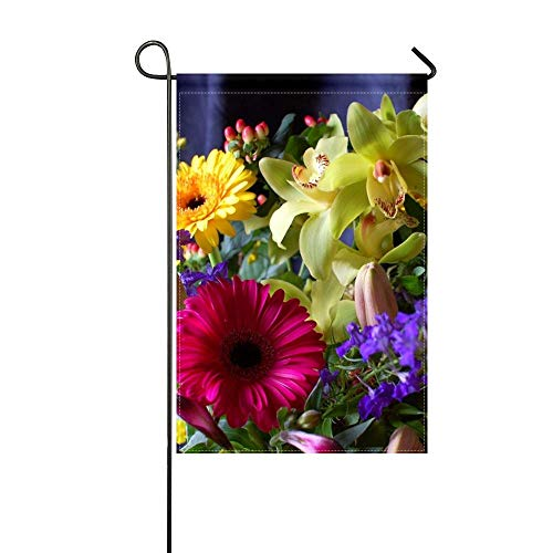 DongGan Garden Flag Gerbera Orchids Flowers Bouquet Design Composition 12x18 Inches(Without Flagpole)