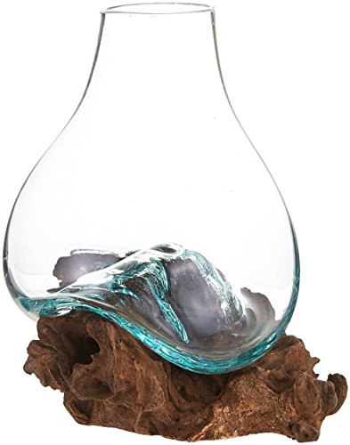 Cohasset Gifts Cohasset Glass Molten Glass & Wood Vase, Approximately 8