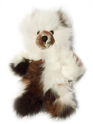 - Baby Alpaca Fur Teddy Bear - Hand Made 10 Inch Multi - White/Dark Chocolate