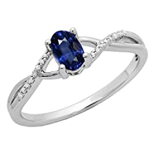 10K Gold Oval Cut Blue Sapphire & Round White Diamond Bridal Swirl Split Shank Engagement Promise Ring