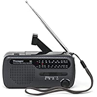 Kaito V1 Voyager Solar/Dynamo AM/FM/SW Emergency Radio with Cell Phone Charger and 3-LED Flashlight, Iron Gray