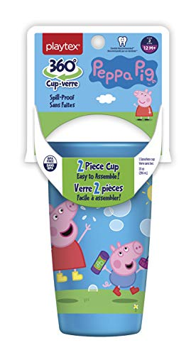 Playtex Sipsters Stage 2 360 Degree Peppa Pig Spill-Proof, Leak-Proof, Break-Proof Spoutless Cup for Girls, 10 Ounce - Pack of 2 (Playtex Straw Bottle)