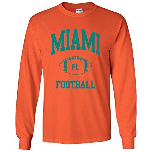 Miami Classic Football Arch American Football Team Long Sleeve T Shirt - 3X-Large - Orange (Miami Dolphins Best Quarterback)
