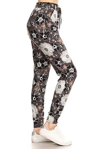 - Leggings Depot JGA-R559-L Midnight Flowers Printed Jogger Pants w/Pockets, Large