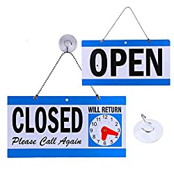 Business Hour Open Closed Sign - Bundle of Office Hours Sign Will Return Clock with Suction Cups for Door Window Businesses Stores Restaurants Bars Retail Barbershop Salon Shops (Open/Close Sign)