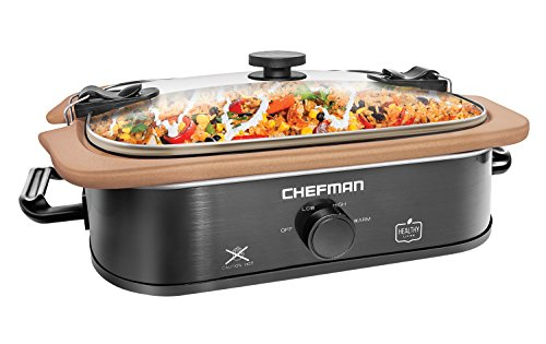Chefman Natural Casserole Slow Cooker with Locking Lid, Stoneware Crock Insert is Stovetop, Oven and Dishwasher Safe, 3.5 QT