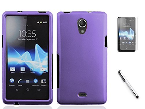 Sony Ericsson Slide (Bundle Accessory for AT&T Sony Ericsson Xperia TL LT30at - Hard Case Protective Cover + Lf Stylus Pen + Lf Screen Screen Protector (Hard Purple))