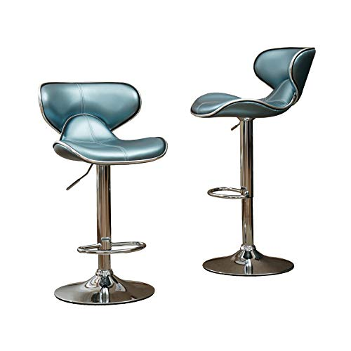 Roundhill Furniture PC138BU Masaccio Cushioned Leatherette Upholstery Airlift Adjustable Swivel Barstool with Chrome Base, Set of 2, Blue