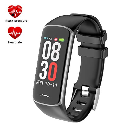 Fitness Tracker, Activity Tracker Watch with Heart Rate Monitor, Smart Watch with Message Reminder and Step Counter, Smart Bracelet with Blood Pressure and Sleep Monitor, IP67 Waterproof (B2-Black)
