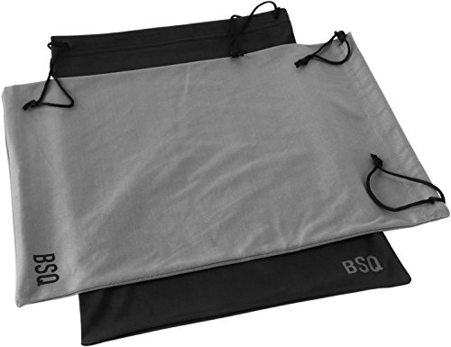 Micro Camera Pouch - Microfiber Pouch 11 x 14 Inch (2 Pack) - Soft Cloth Storage Bag(s) for Eyeglasses, Sunglasses, Oakley Glasses, Gifts, Coins, Jewelry, Electronic Gadgets, Mobile Cell Phone - Black & Dark Grey
