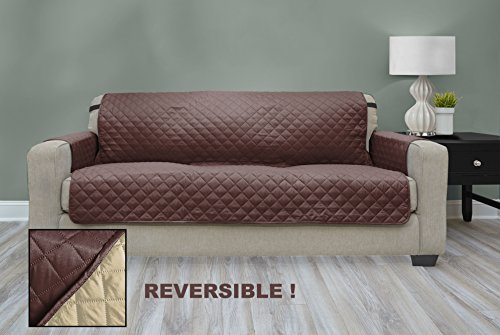 Premium Quality Reversible Couch Cover for Dogs, Kids, Pets - Sofa Slipcover Set Furniture Protector for 3 Cushion Couch, Recliner, Loveseat and Chair (Couch / Sofa, Chocolate / Tan)