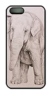 Custom Pencil Sketch Elephant Hard Plastic Case Cover for iPhone 5 5S