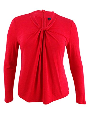 s Twist-Front Textured Pullover Top Red L ()