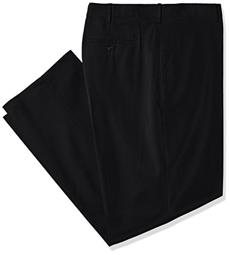 (Savane Men's Big and Tall Flat Front Stretch Crosshatch Dress Pant, Black, 48W x)