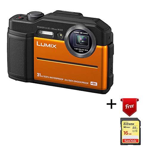 Panasonic Lumix Waterproof Digital Camera - TS7 Tough Wi-Fi Camera with 3 Inch LCD, 20.4 Megapixels, 4.6X Zoom Lens - Orange - DC-TS7D (Renewed)
