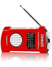 Duronic Ecohand AM/FM Radio | LED Zaklamp | Opladen met USB Handslinger | Koptelefoon Jack Plug | Ingebouwde Zaklantaarn | Draagbaar | Noodradio | Buiten Kamperen Hiken Vissen | Compact