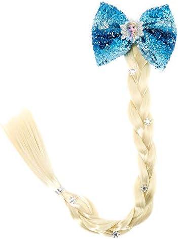 Frozen 2 Girls Queen Elsa Faux Hair Braid with Bow