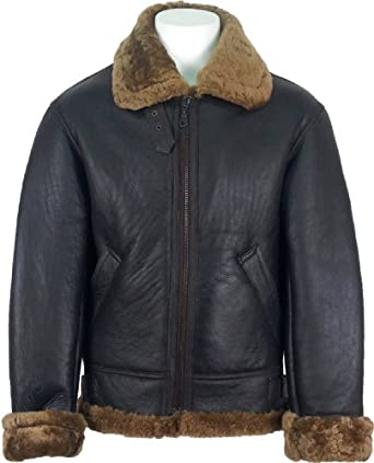 UNICORN Mens Sheepskin Jacket Brown With Brown Fur Aviator Leather ...